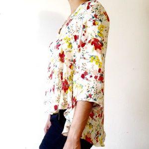 Zara • delicate silky blouse floral print